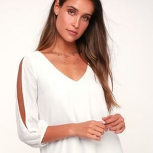 BNWOT SHIFTING DEARS IVORY LONG SLEEVE lulus dress